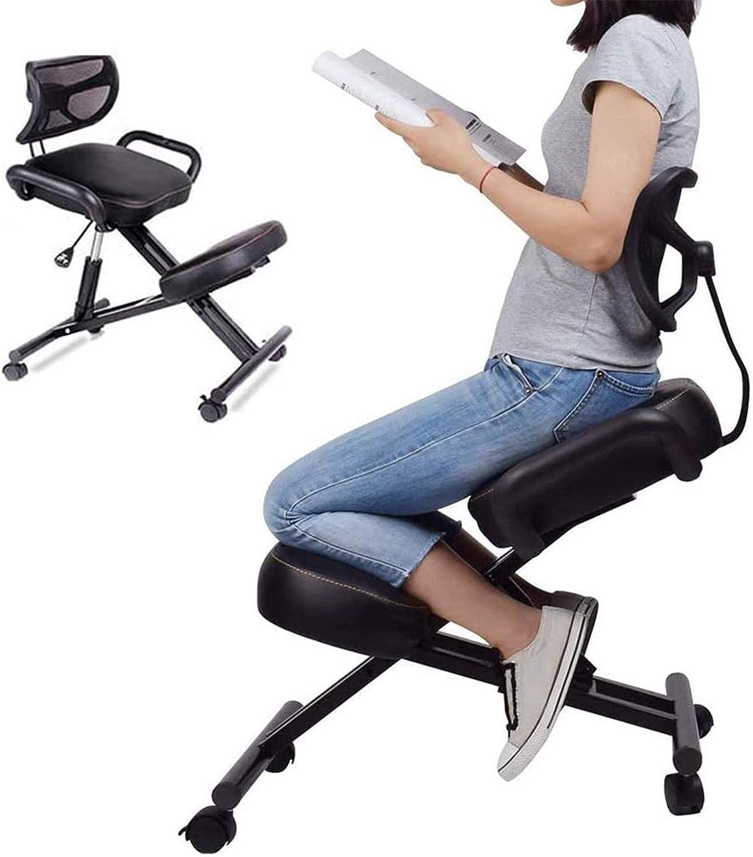ZYFWBDZ Chaise Ergonomique à Genoux, Chaise de Genou avec Dossier et accoudoirs, Tabouret réglable de Chaise de Bureau favorisant Une Bonne Posture,C D