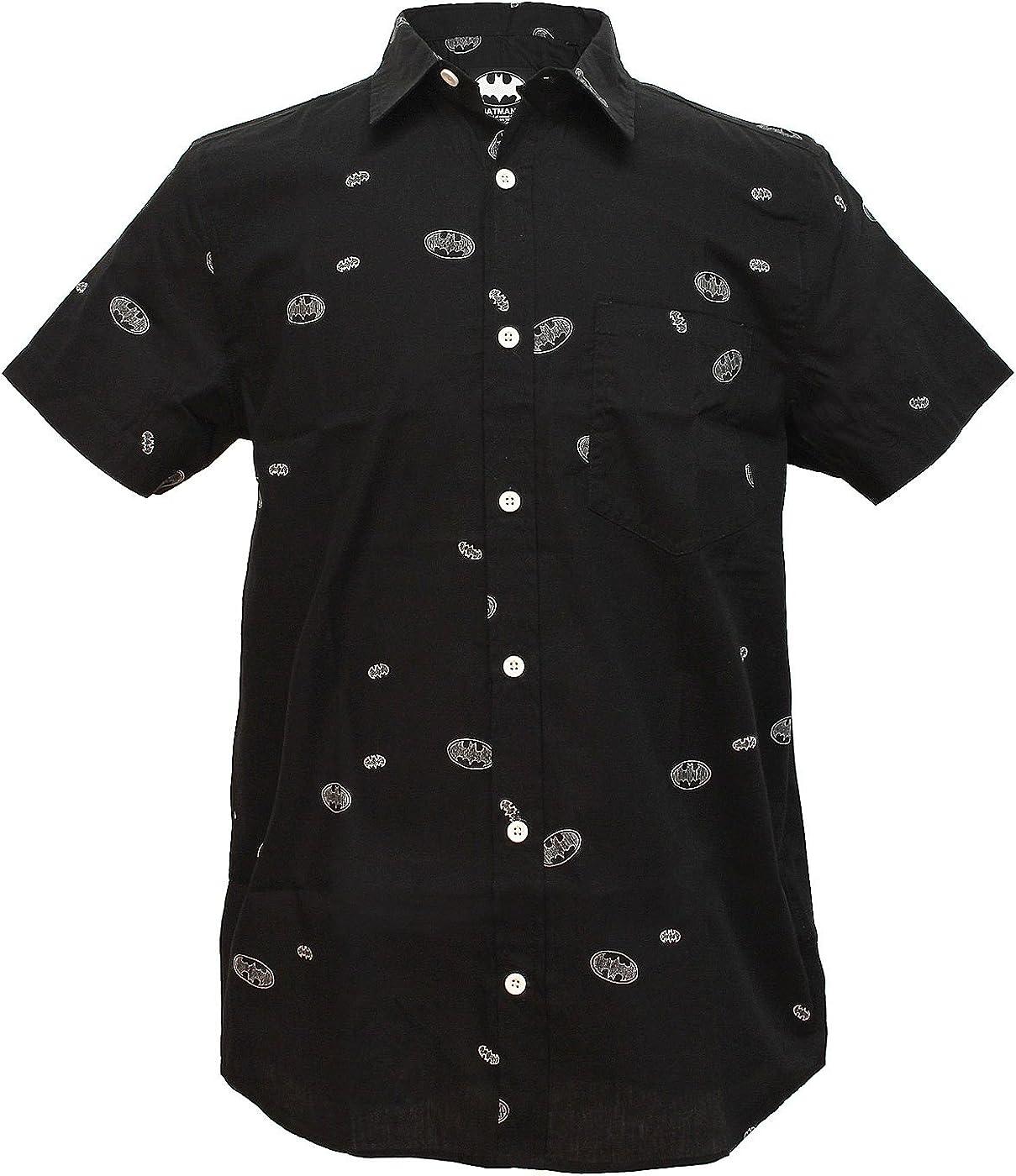 Batman Logo Woven Button Up Shirt