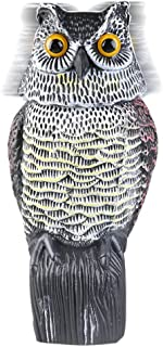 Owl Decoy Rotating Head Owl,Natural Enemy Scarecrow Deterrent Crow Bird Control Repellents