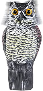 Owl Decoy with Rotating Head,Natural Enemy Scarecrow Deterrent Pest Crow Bird Control Repellents by DOGS