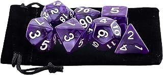 Kit 7 Dados RPG de Mesa D&D Opaco Perolado D4 D6 D8 D10 D10% D12 D20 Cor ROXO + 1 Bolsa