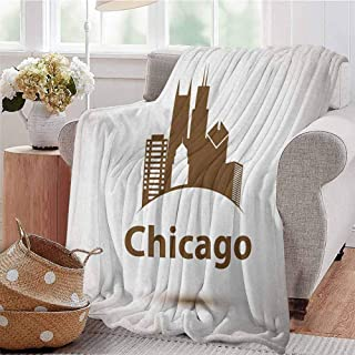 Luoiaax Chicago Skyline Commercial Grade Printed Blanket USA City Old Fashioned Urban in Earth Toned Retro Poster Design Queen King W70 x L90 Inch Eggshell Chocolate