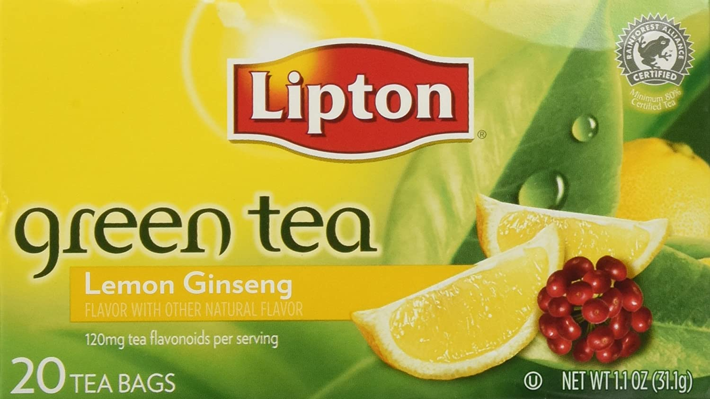 Lipton Lemon Ginseng Green safety Tea 20-Ct Pack Long Beach Mall of 3
