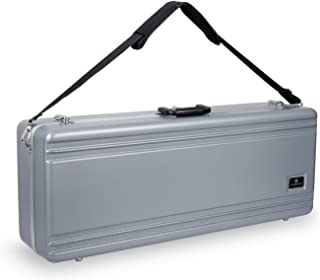 Crossrock CRA860TSSL-R Tenor Saxophone Case-Rectangular ABS Molded with Single Shoulder Strap, Silver