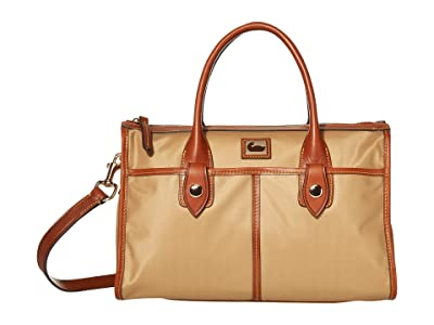 Dooney & Bourke Camden Satchel (Natural/Dark Chocolate Trim) Satchel Handbags