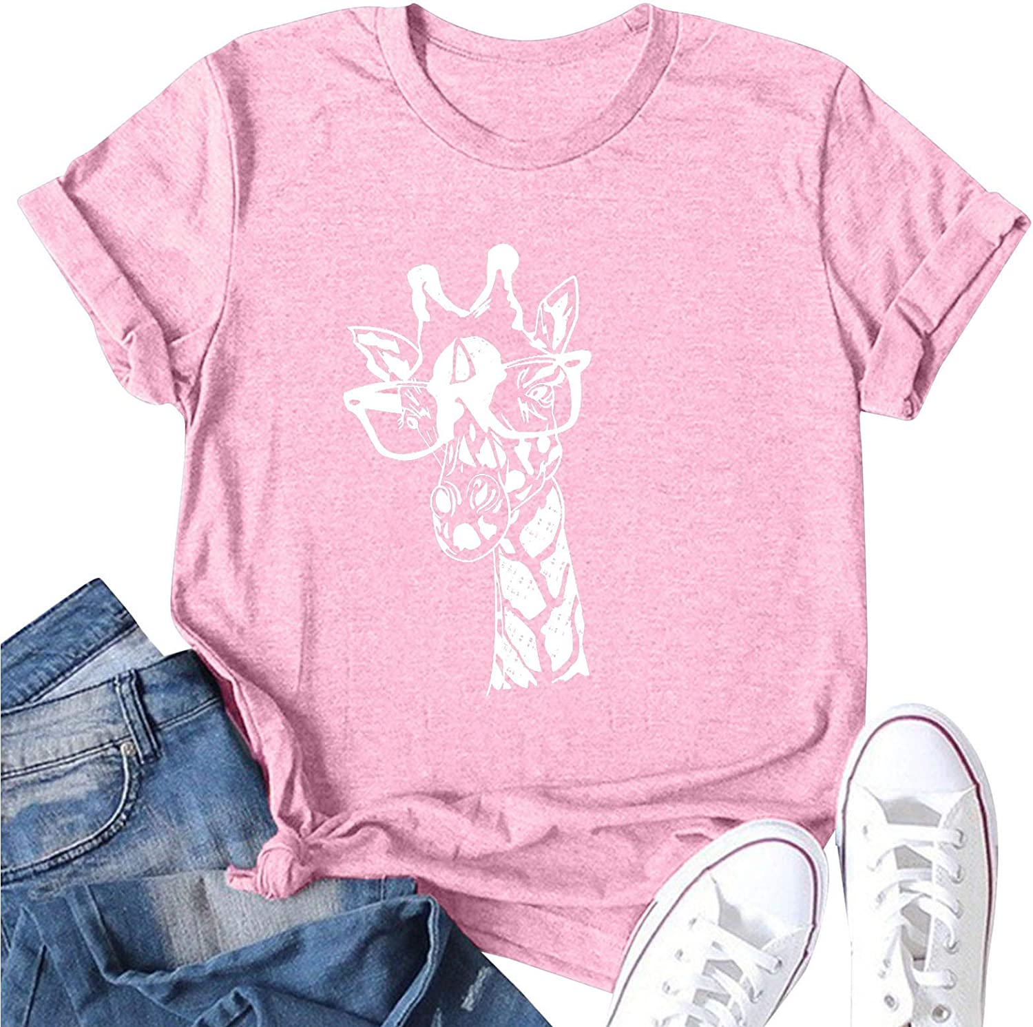 Aukbays Womens Short Sleeve Tops Loose Fit Graphic Funny 3D Donkey Printed Crewneck Tshirt Athletic Cute Tees