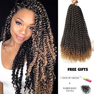 7 Packs Passion Twist Hair Ombre Blonde 18 Inch Water Wave Crochet Braids for Passion Twist Crochet Hair Passion Twist Braiding Hair Hair Extensions (22Strands/Pack 18 Inch, T1B/27)