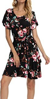 Simier Fariry Womens Tulip Sleeve Floral Swing Casual Short Dress with Belt