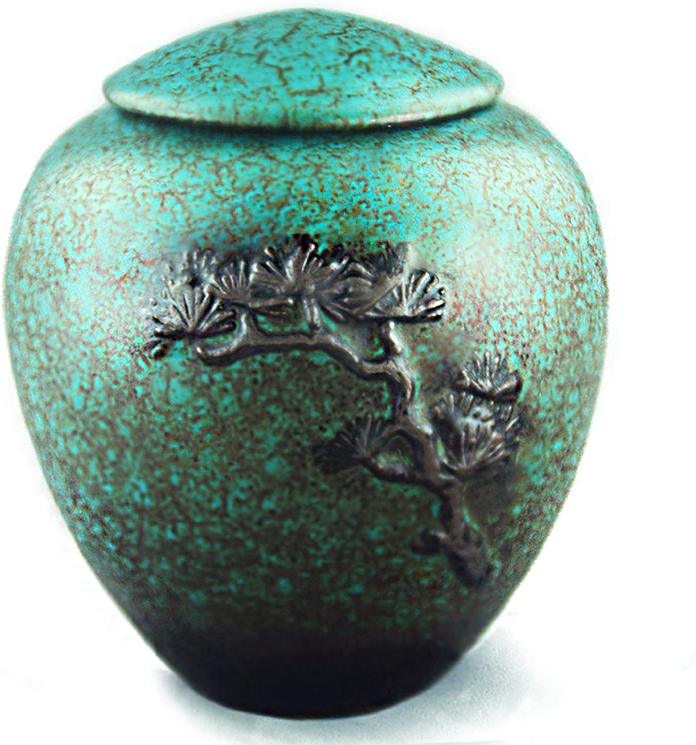 MEILINXU 5  Medium-Sized, Funeral Urn Cremation Urns for Human Ashes Adult - Hand Made in Ceramics with Manual Relief - Display Burial Urns at Home or in Niche at Columbarium (Green Tree of Life