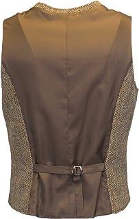 Walker & Hawkes - Mens Classic Scottish Harris Tweed Herringbone Overcheck Country Waistcoat - White Sand - 52