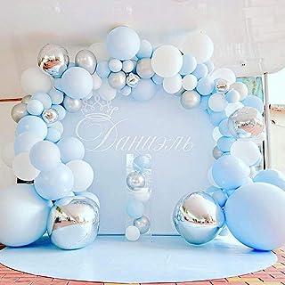 Bleu Arche de Ballon, 109 Pièces Bleu Argent Blanc Latex Ballon 4D Argent Ballons Pour Bébé Douche Mariage Fête D'annivers...