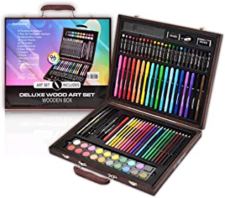 Darnassus 96-Piece Art Set, Deluxe Professional Color Set, with Compact Portable Wooden Case