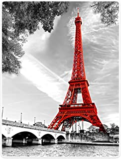 TSlook Blankets Soft Warm Sofa Bed Throw Blanket City Landmark Paris Eiffel Tower Red 60