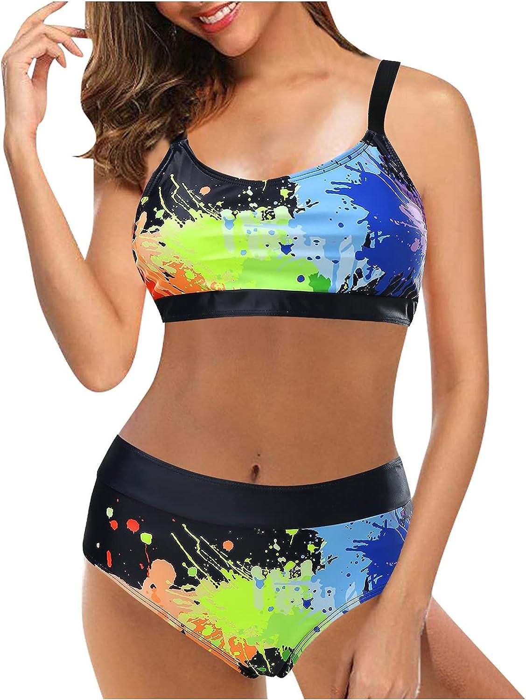 Black Bikini Top Flowy Tankini Tops (Multicolor, M)