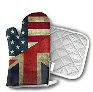 HAIDEL USA UK America British Flag Kitchen Non Slip Heat Resistant Oven Flame Cooking Baking Mitts Gloves for,BBQ,Grilling Machine Washable,One Size-Christmas Christmas Eve Halloween Insulated Gloves