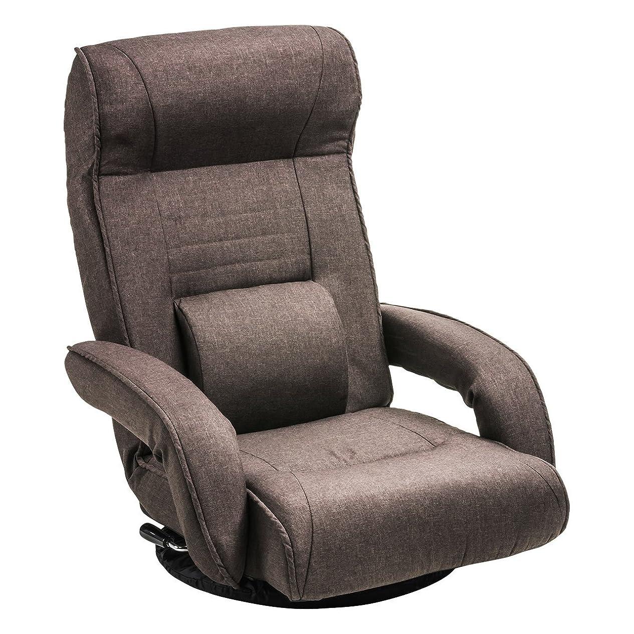 柔和日付質量サンワダイレクト 回転座椅子 レバー式 リクライニング ポケットコイル ひじ掛け付き ハイバック 腰当て付 ブラウン 150-SNCF011BR