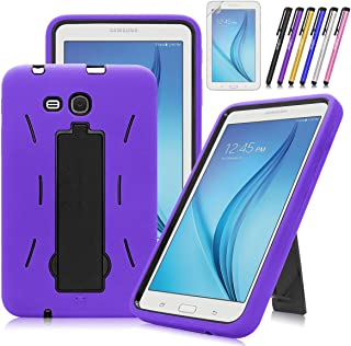 Windrew Heavy Duty Hybrid Protective Case with Kickstand Impact Resistant For Samsung Galaxy Tab E Lite 7.0 / Tab 3 Lite 7.0 SM-T110 T111 T113 + Screen Protector Film and stylus pen (Purple)