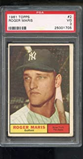1961 Topps #2 Roger Maris New York Yankees MLB PSA 3 Graded Baseball Card