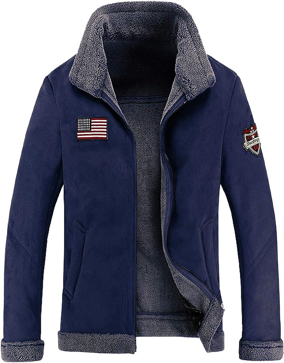 Flygo Men's Winter Suede Leather Sherpa Lined Trucker Jacket Coat