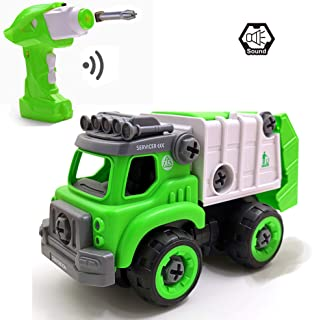 pop mart Take Apart Toys RC Sanitation Truck Car Remote Control DIY Vehicle Green RC Garbage Recycling Car Toy Assemable Early Educational Toddler Toy Set Powered Car Toy for Children Boys Girls Kids