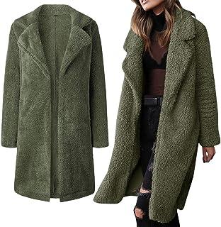 VEMOW - Cappotto lungo da donna, invernale, caldo, a maniche lunghe, in tinta unita
