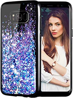 Caka Galaxy S8 Plus Case, Galaxy S8 Plus Glitter Case Starry Night Series Luxury Fashion Bling Flowing Liquid Floating Sparkle Glitter Girly Soft TPU Case for Samsung Galaxy S8 Plus (Blue Purple)