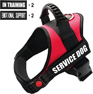 FAYOGOO Dog Vest Harness for Service Dogs, Comfortable Padded Dog Training Vest with Reflective Removable Dog Patches and Handle for Large Medium Small Dogs