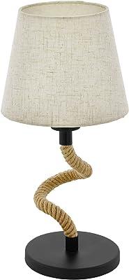 Eglo Lampe de Table en Acier, 28 W, Noir et Crème