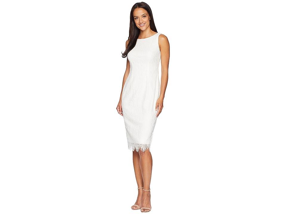 Adrianna Papell Scarlett Lace Midi Sheath Dress (Ivory) Women