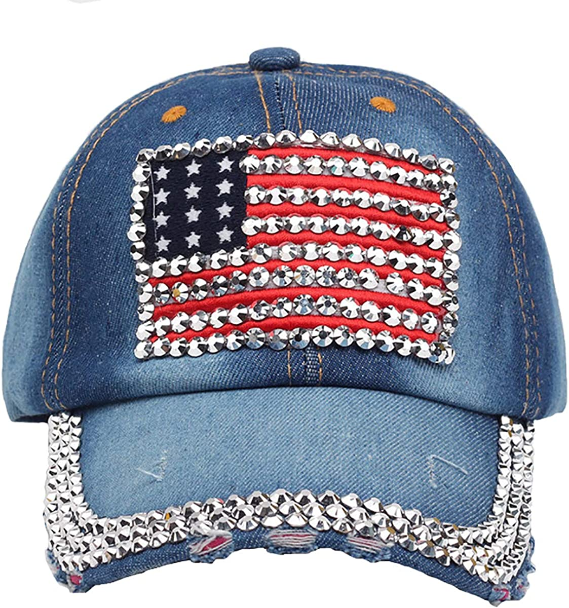 MissFun America Flag Sale item Baseball Cap Jewel Silver Special Campaign Jeans Bling Hats