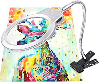 PP OPOUNT 5D Diamond Painting Tools LED Magnifier Light with Clamp, 2.5X & 5X Magnifier for DIY Diamond Painting Kits and ...