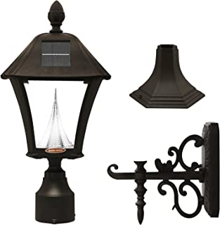 Gama Sonic GS-106FPW-B Baytown Lamp Outdoor Solar Light, Pole Pier & Wall Mount Kits Only, Black