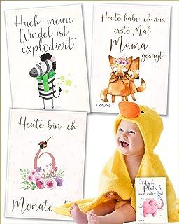 JANEYO JANEYO - 70 Motive Meilensteinkarten für Babys mein erstes Jahr - für Mädchen und Jungen zur Geburt - Meilenstein Karten auf Deutsch - Babykarten, Milestone Cards, Geschenke für Schwangere und Mamas