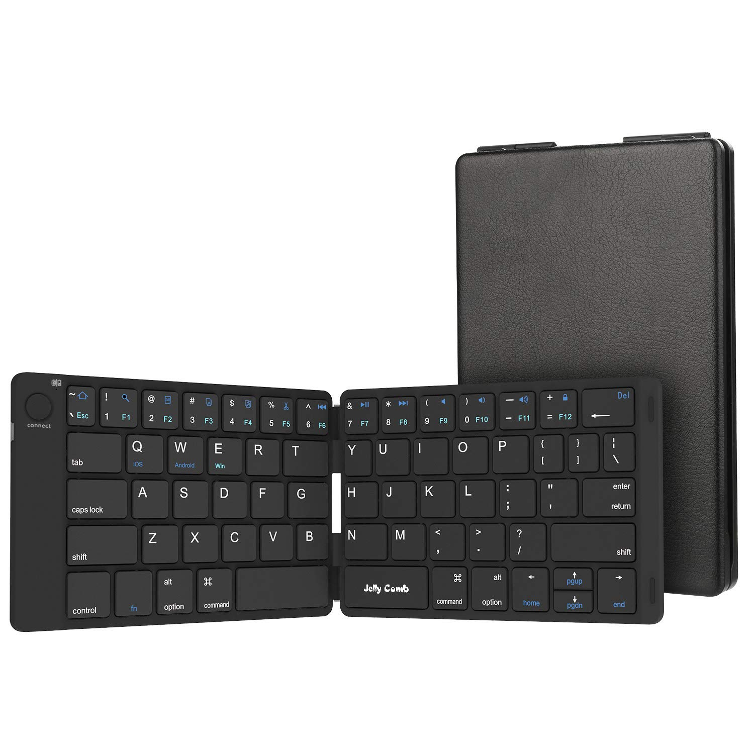 Amazon Com Foldable Bluetooth Keyboard Jelly Comb Ultra Slim Foldable Bt Keyboard B047 Rechargeable Pocket Sized Keyboard For All Ios Android Windows Laptop Tablet Smartphone And More Black Computers Accessories