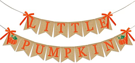 Little Pumpkin Banner Burlap | Little Pumpkin Baby Shower | Little Pumpkin Birthday Decorations | Boy or Girl Kid's Thanksgiving Fall Themed Baby Shower Birthday Party Decor Supplies