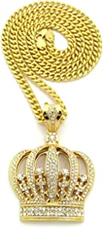 Hip Hop King Crown Pendant 6mm 30 inches Cuban Chain Necklace in Gold Tone