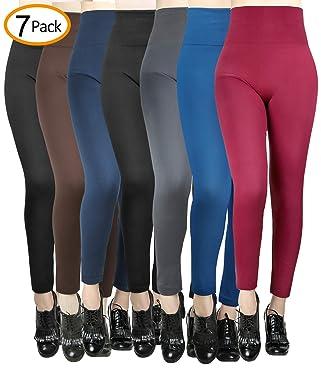 Leggings de cintura alta con forro polar para mujer, sin costuras, 7 unidades