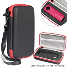 Protective Camera Case by WGear, Applicable for Ricoh Theta S, V 360 and Theta SC 360 Degree Spherica, Customized Dense Absorbing Sturdy Foam Inlay, Mesh Pocket Inside Matte Black+Red Zip
