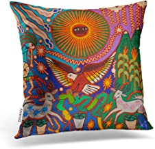 Emvency Square 20x20 Inches Decorative Pillowcase Oaxaca Mexico Mexican Style Mayan Tribal Boho Travel Artwork Polyester Decor Throw Pillow Cover with Hidden Zipper for Bedroom Sofa