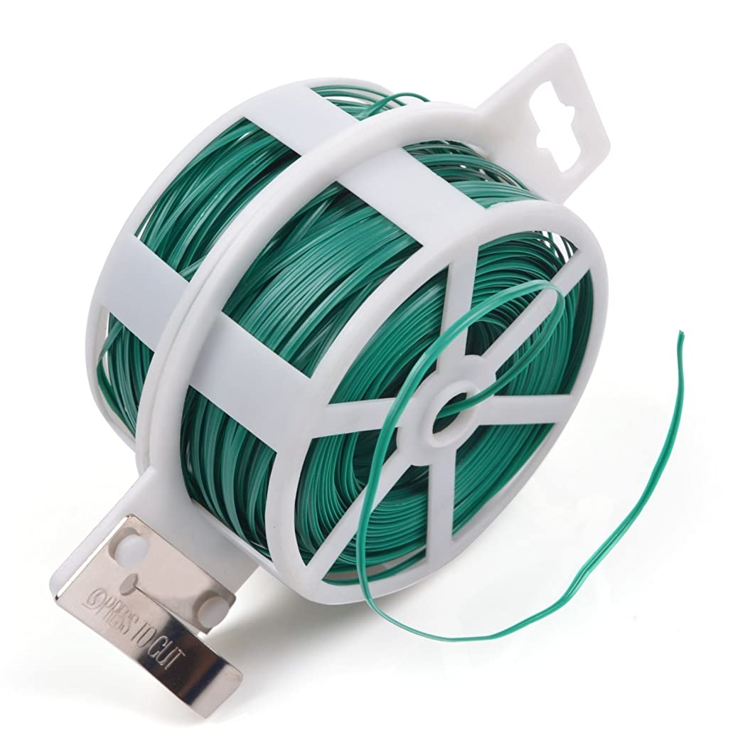 JDYYICZ 328 Feet (100m) Green Multi-Function Sturdy Garden Plant Twist Tie with Cutter/ Cable Tie/Zip Tie/ Coated Wire (1) (1 roll green)