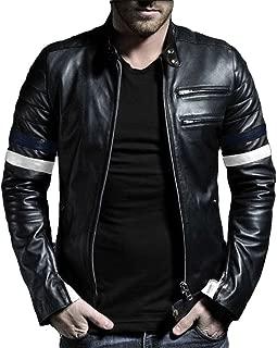 Men's Genuine Lambskin Leather Jacket (Black, Biker Jacket) - 1501535
