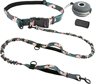 PETDOM Running Dog Leash Hands Free Camo - Double Bungee Cord, 2 Padded Handles, Adjustable Waist Belt, Multifunctional - Heavy Duty Leash for Large Dogs Up to 180lbs