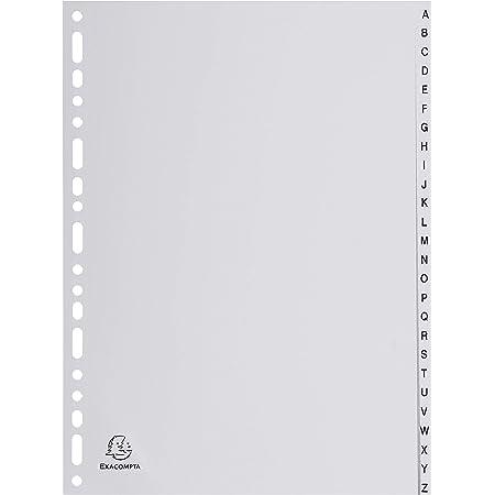 Exacompta - Réf. 1726E - Intercalaires gris en polypropylène recyclé avec 26 onglets imprimés alphabétiques de A à Z - Format à classer A4 - Dimensions 22,5 x 29,7 cm - certifiés Ange Bleu