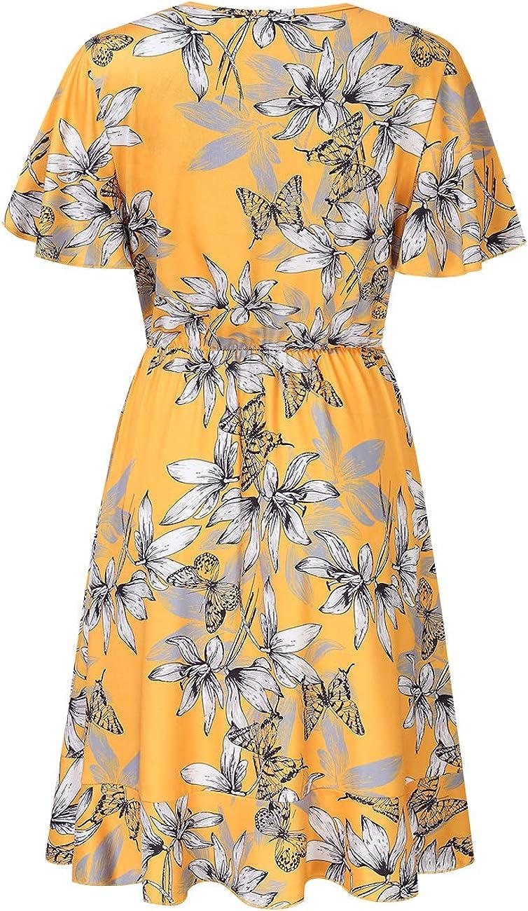 Leadingstar Women V-Neck Short Sleeve Ruffles Casual Dress