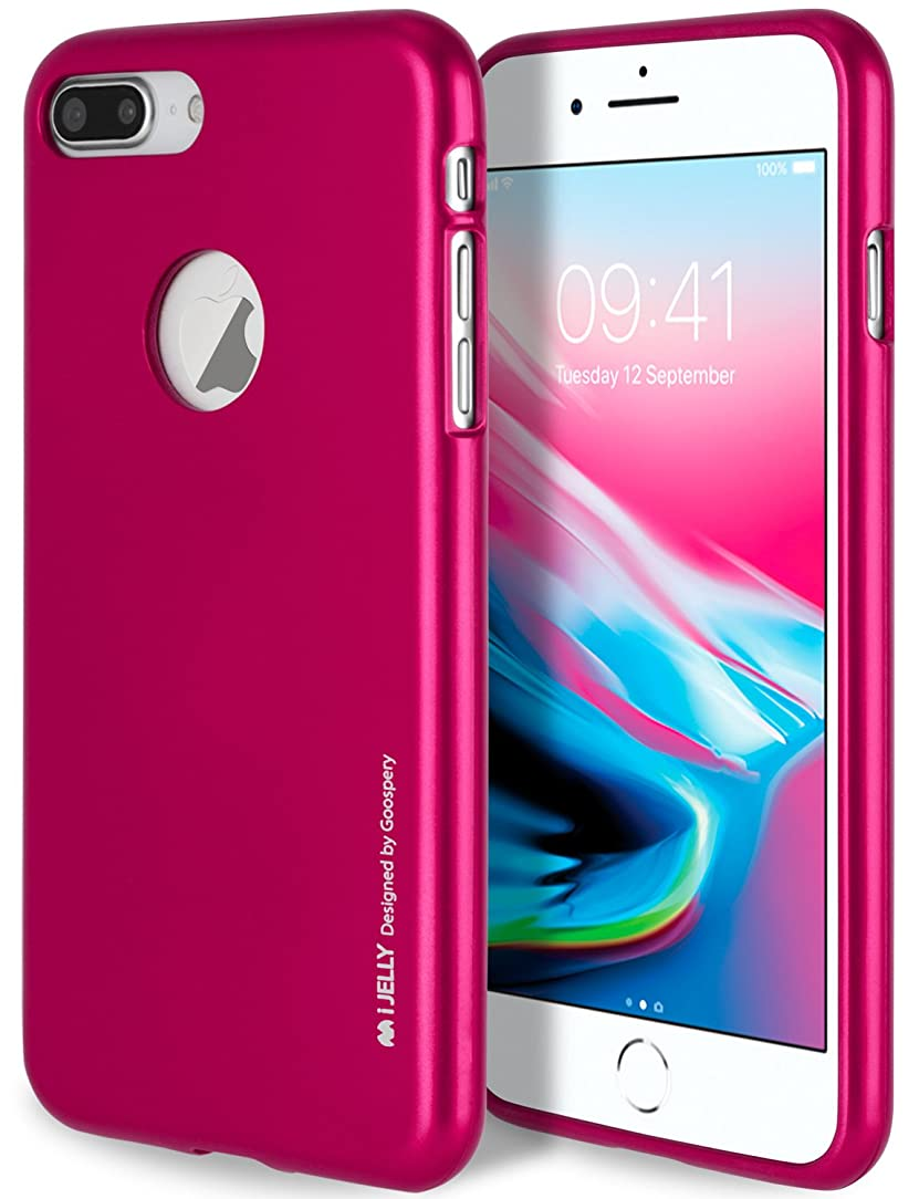 iPhone 8 Plus Case with Free Screen Protector, [Shockproof] GOOSPERY i-Jelly TPU Case [Thin and Slim] Flexible Bumper Cover for Apple iPhone8Plus - Metallic Hot Pink, IP8P-IJEL/SP-HPNK dkv07200342