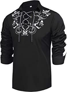 Mens Scottish Jacobite Ghillie Kilt Shirt Casual Long Sleeve Shirt