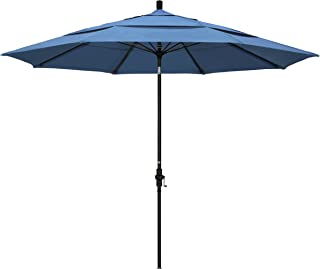 California Umbrella 11' Round Aluminum Pole Fiberglass Rib Market Umbrella, Crank Lift, Collar Tilt, Black Pole, Forest Blue Olefin