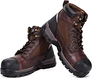ROCKROOSTER Work Boots for Men, Composite Toe, 6 inch, Slip Resistant Safety Oiled Leather Shoes, Waterproof, Anti-Puncture, Breathable, Quick Dry, Anti-Fatigue, AT872