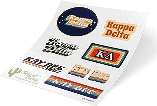 Kappa Delta 70's Themed Sticker Sheet Decal Laptop Water Bottle Car KD (Full Sheet - 70's)