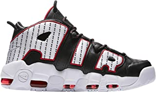 nike uptempo black and red